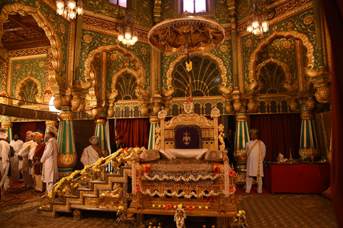 Mysore Palace The Majestic Durbar Hall With Its Ornate Ceiling And Sculpted Pillars Chandeliers Cast Iron Belgian Stained Glass Arranged In